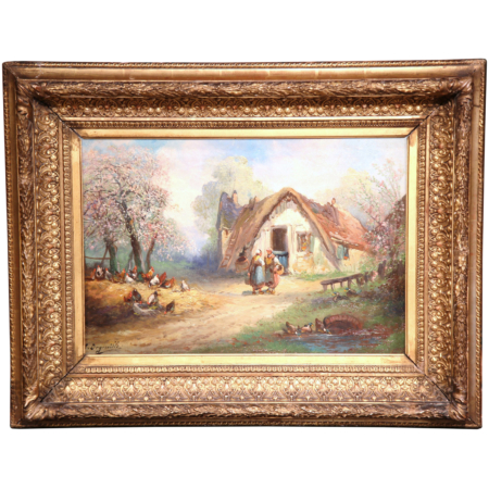 19th Century French Oil on Canvas Country Scene Painting Signed Degerville