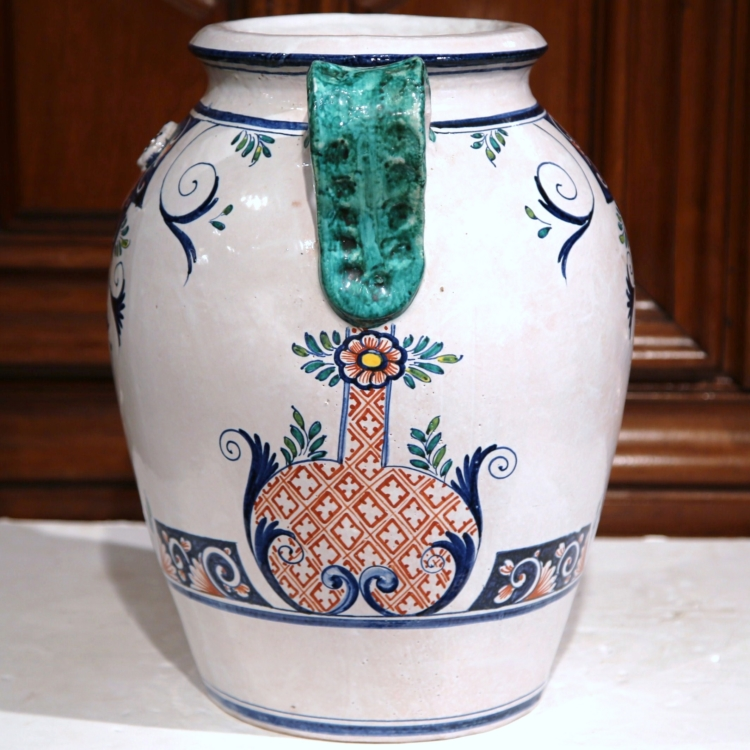 Large Mid-Century French Ceramic Hand-Painted Vase Signed Vincent Garnier