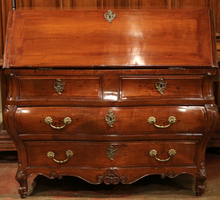 18th Century French Louis XV Bombe Cherry Secretary from Bordeaux