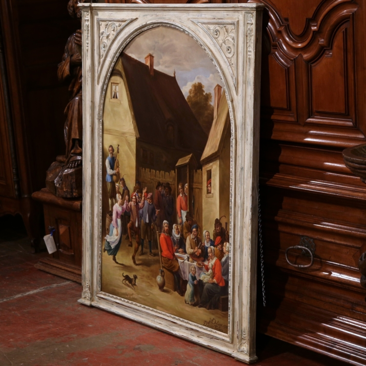 Early 20th Century French Oil Painting in Carved Frame Signed and Dated 1928