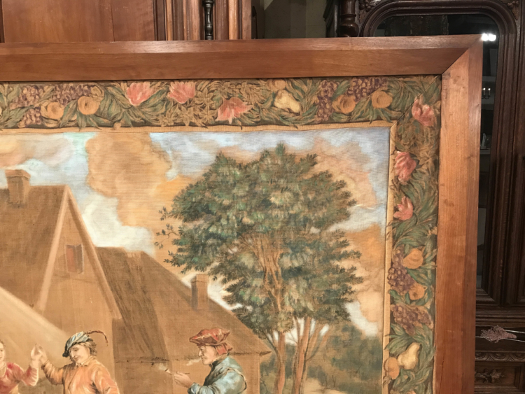 Large 19th Century French Hand-Painted Framed Canvas after David Teniers