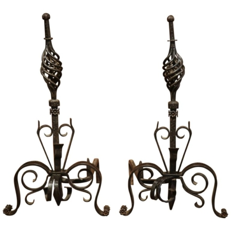 Pair of 19th Century French Black Iron Andirons