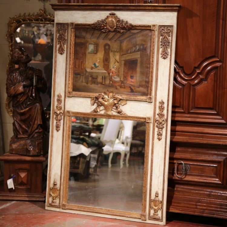 19th Century, French, Louis XVI Painted and Gilt Trumeau Mirror