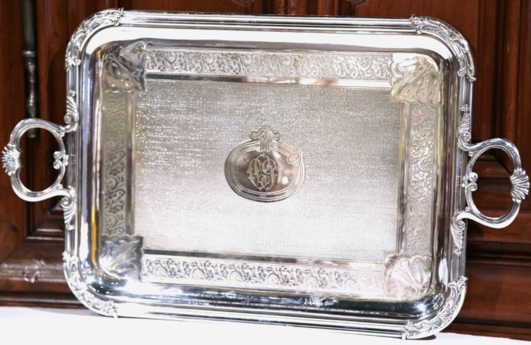 19th Century French Silver Plated Tray Signed Pelloutier & Cie, 1894