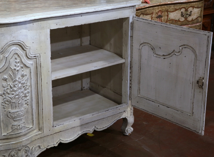 18th Century French Louis XV Carved Painted Two-Door Buffet with Faux Marble Top