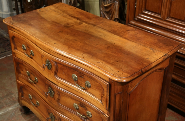 Large Mid-18th Century French Louis XV Carved Walnut Commode Chest of Drawers