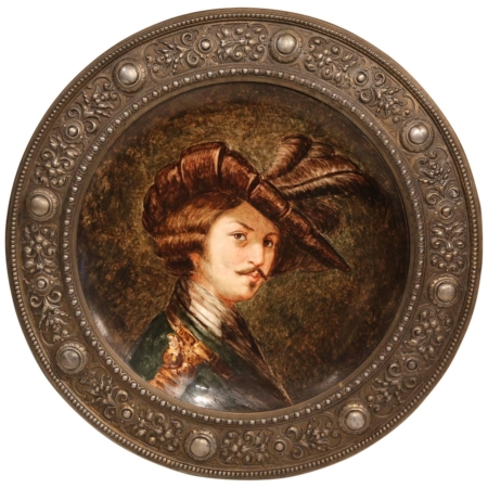 19th Century German Round Painted Porcelain Platter with RepoussM) Pewter Frame