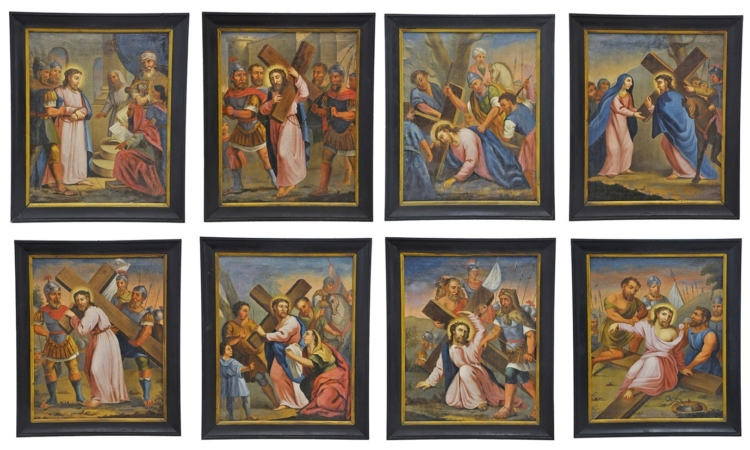 """Set of Eight Antique """"Stations of the Cross"""" Oil Paintings from Italy"""