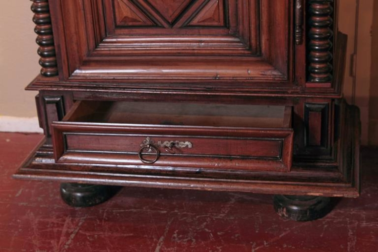18th Century French Louis XIII Carved Walnut Bonnetiere with Bottom Drawer