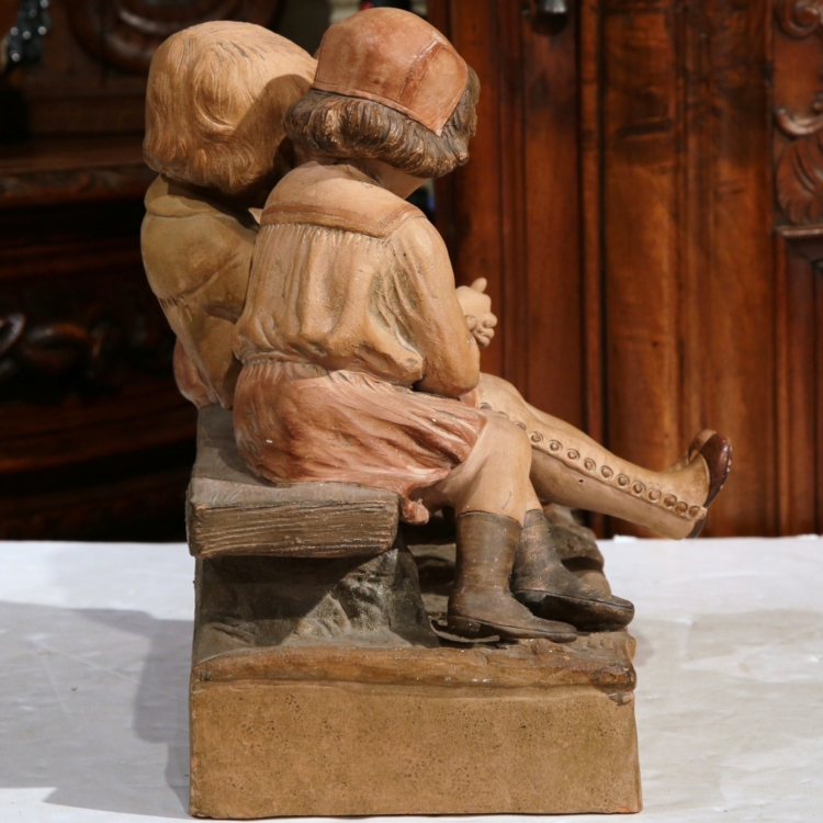 """19th Century French Polychrome Clay Sculpture """"Un Projet"""" Signed Baleaio"""