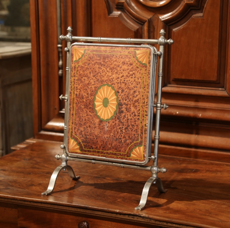 19th Century French Freestanding Folding Triptych Mirror with Bevelled Glass