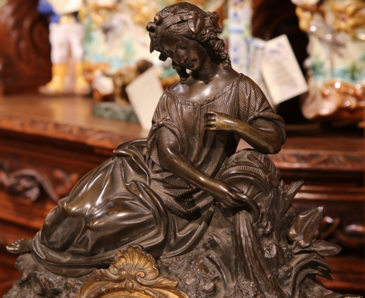 19th Century French Bronze and Marble Mantel Clock with Woman Figure Pouring Oil