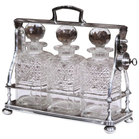 19th Century English Silver Plated Three-Carafe Tantalus with Lock Mechanism