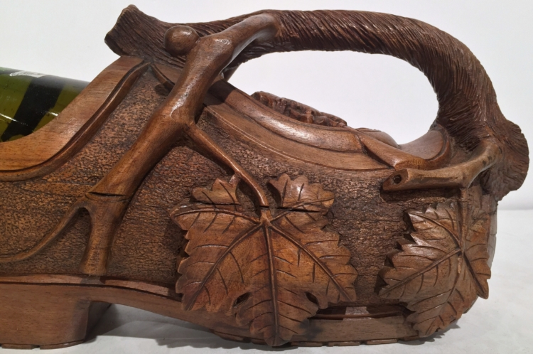 Early 20th Century French Carved Walnut Clog Wine Bottle Holder
