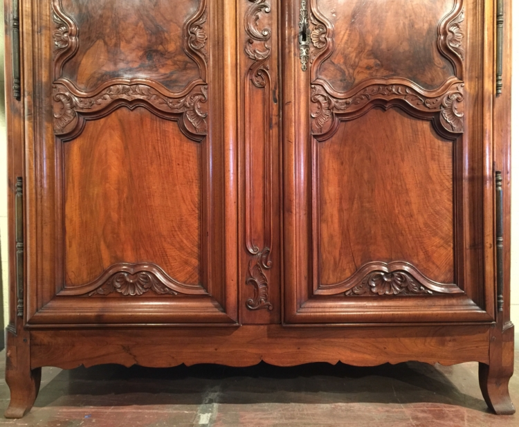 Exquisite 18th Century Country French Carved Walnut Armoire from Lyon