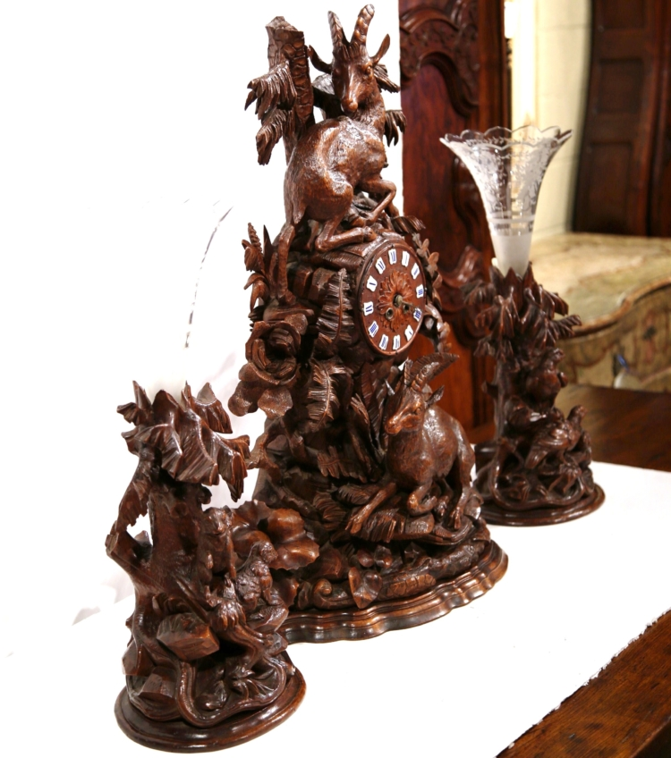 Monumental 19th Century Carved Walnut Black Forest Clock with Matching Vases