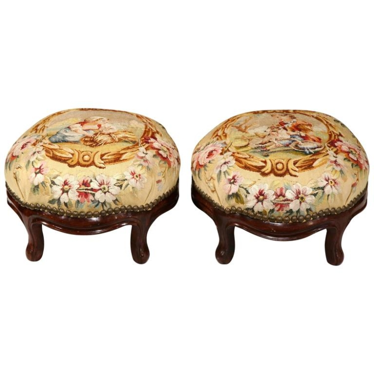 Pair of 19th Century, French, Carved Mahogany Stools with Aubusson Tapestry