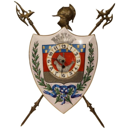 19th Century, French, Porcelain and Brass Desk Clock with Paris Coat of Arms