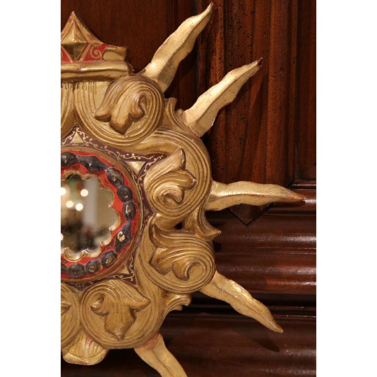 Early 20th Century French Carved Polychrome and Giltwood Sunburst Mirror