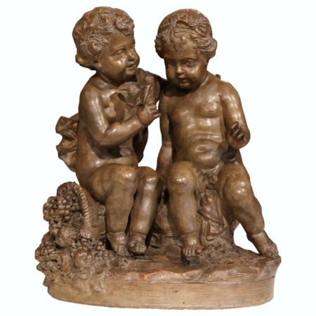 19th Century French Patinated Terracotta Sculpture with Two Cherubs and Bird