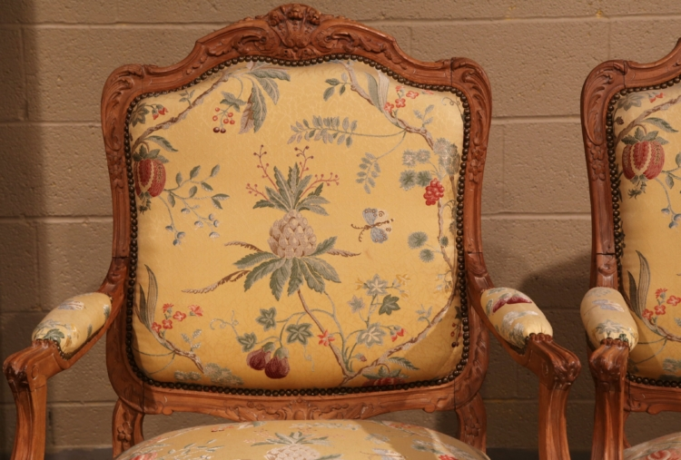 Pair of 20th Century French Louis XV Carved Armchairs with Scalamandre Fabric