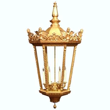Large Mid-20th Century French Louis XVI Carved Gilt Six-Light Hexagonal Lantern