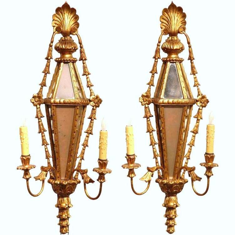 Pair of 19th Century French Louis XVI Carved Gilt and Mirrored Two-Light Sconces