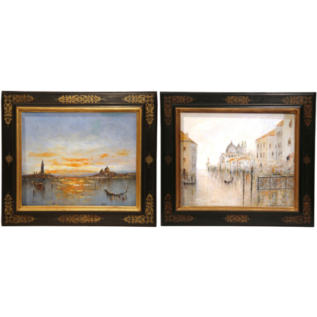 Pair of Mid-20th Century Oil on Canvas Venice Paintings in Decorative Frames