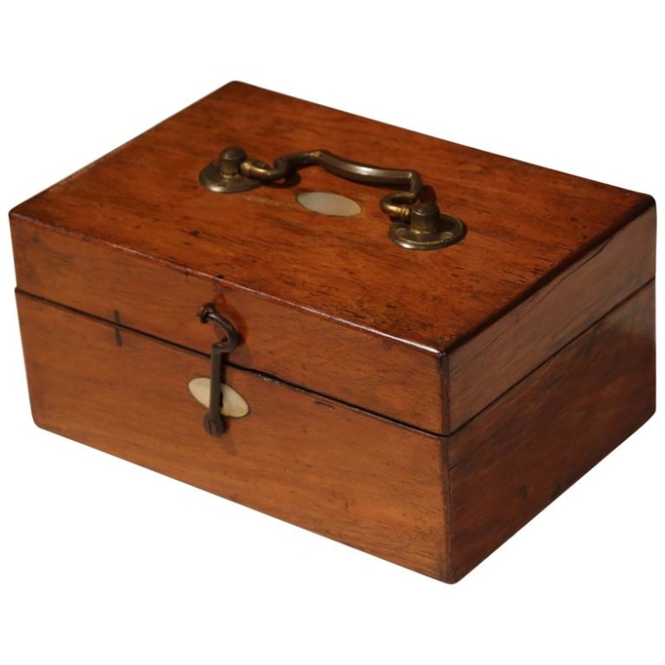 19th Century English Walnut and Mother-of-Pearl Decorative Box with Brass Handle