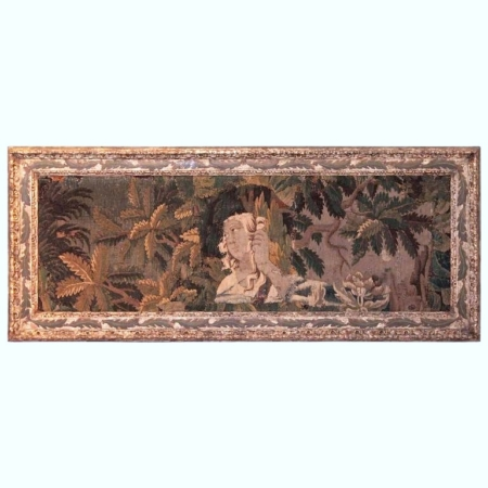 Large 18th Century French Horizontal Aubusson Tapestry in Painted Antique Frame