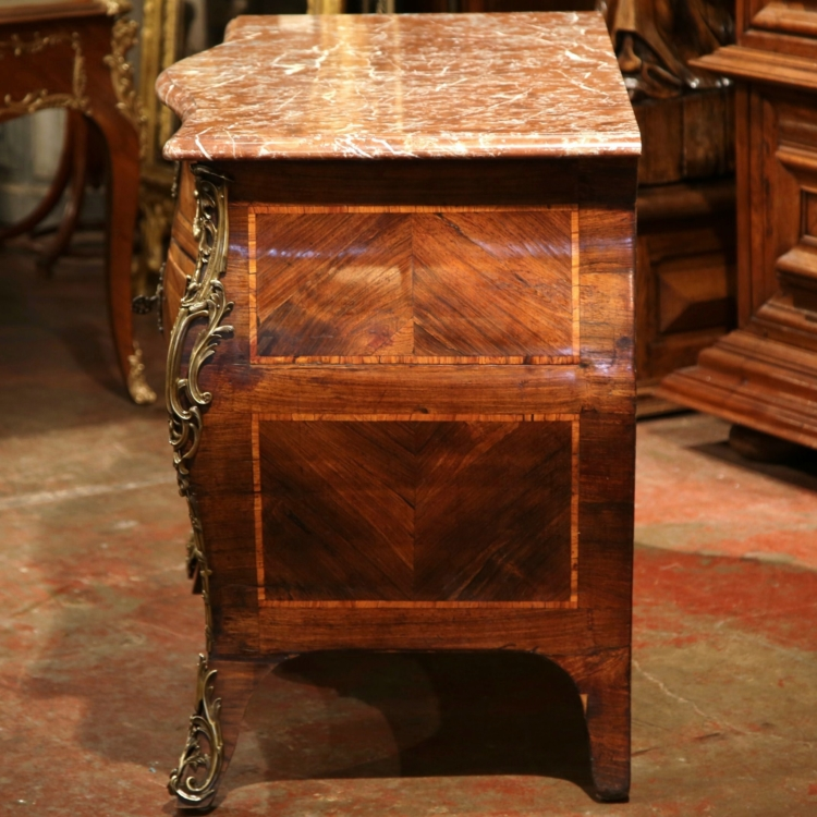 18th Century French Louis XV Walnut Inlaid Bombe Commode with Rouge Marble Top