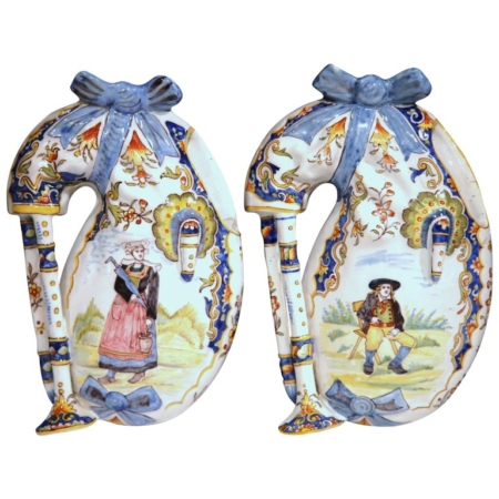 Pair of 19th Century French Hand-Painted Faience Wall Bagpipes from Lorient