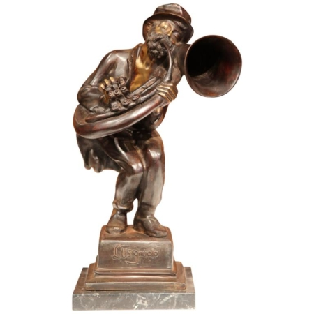 "19th Century Italian Bronze Jazz Player Sculpture ""L'usignuolo"" Signed A d_Orsi"