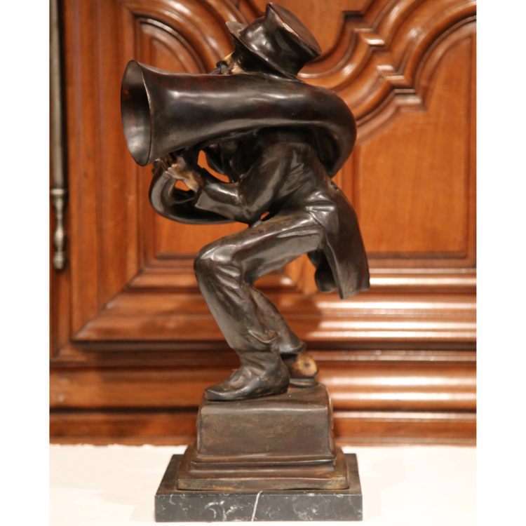 """19th Century Italian Bronze Jazz Player Sculpture """"L'usignuolo"""" Signed A d_Orsi"""