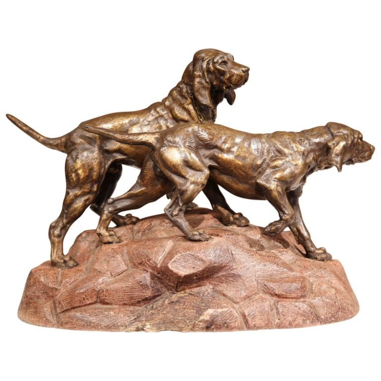 19th Century French Patinated Spelter Hunting Dog Sculpture on Terracotta Base