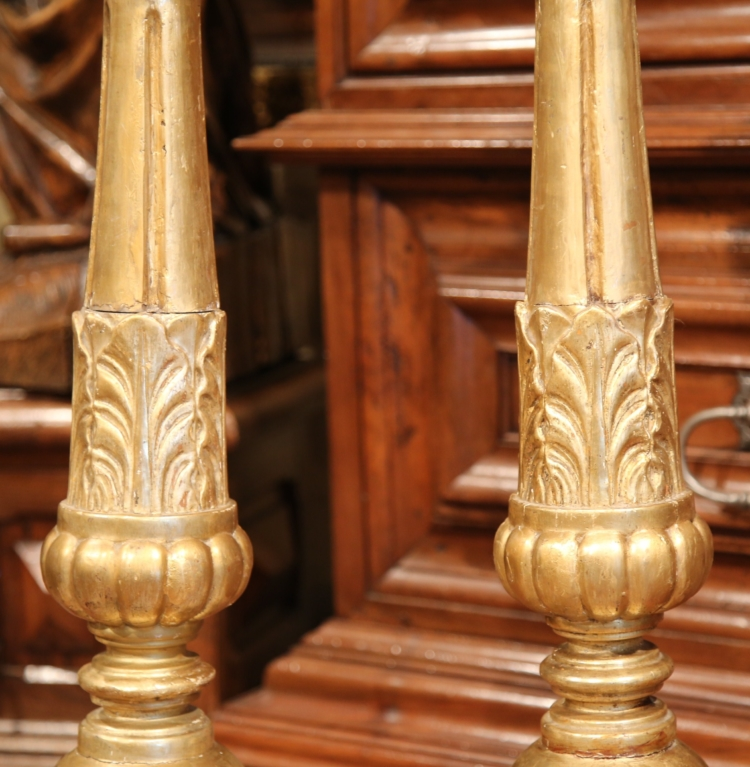 Tall Pair of 18th Century French Louis XV Carved and Giltwood Altar Sticks