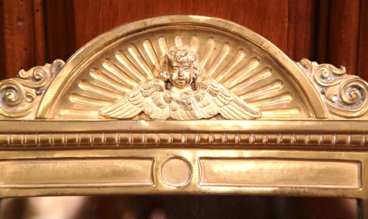 19th Century French Repousse Brass Wall Mirror with Cherub