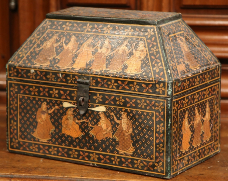 19th Century French Painted Wood Decorative Box with Figures in Oriental Manner