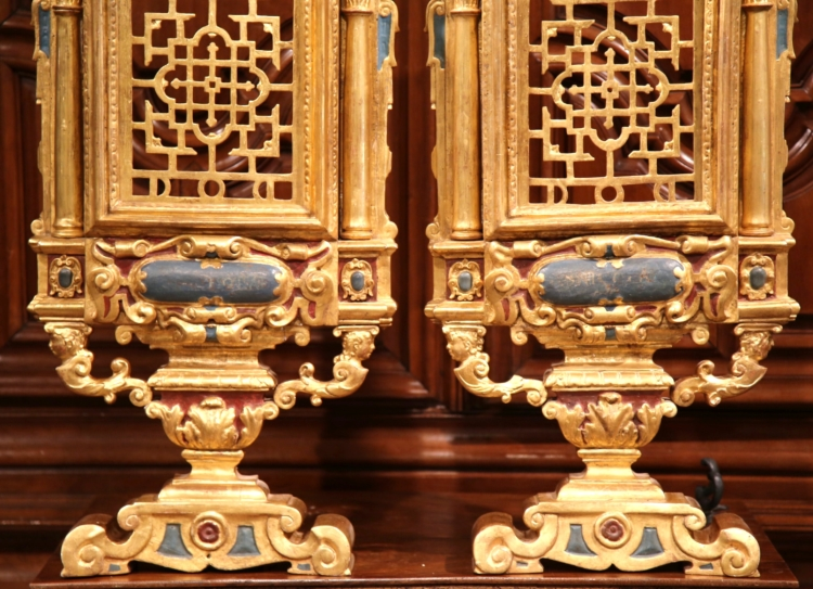 Large Pair of 18th Century Italian Carved Polychrome and Gilt Wall Carvings