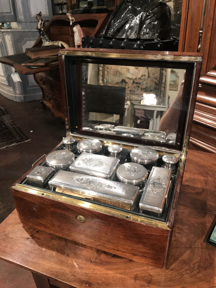 19th Century, French Rosewood Travel Vanity Case with Glass Silver Bottles Dated