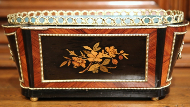 19th Century French Napoleon III Rosewood and Bronze Jardiniere with Marquetry