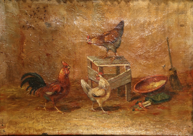 Pair of 18th Century French Chicken Paintings in Gilt Wood Frames