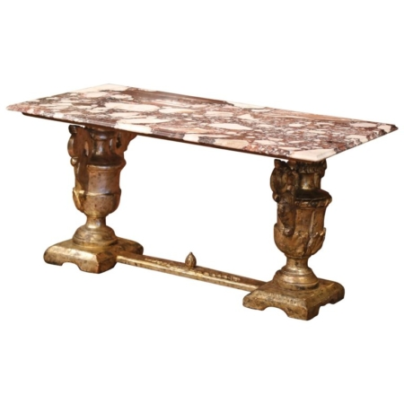 19th Century Italian Carved Silver Plated Coffee Table with Marble Top