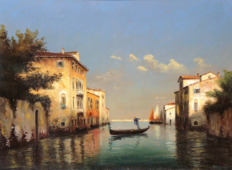 19th Century French Oil On Canvas Venice Painting Signed Brard