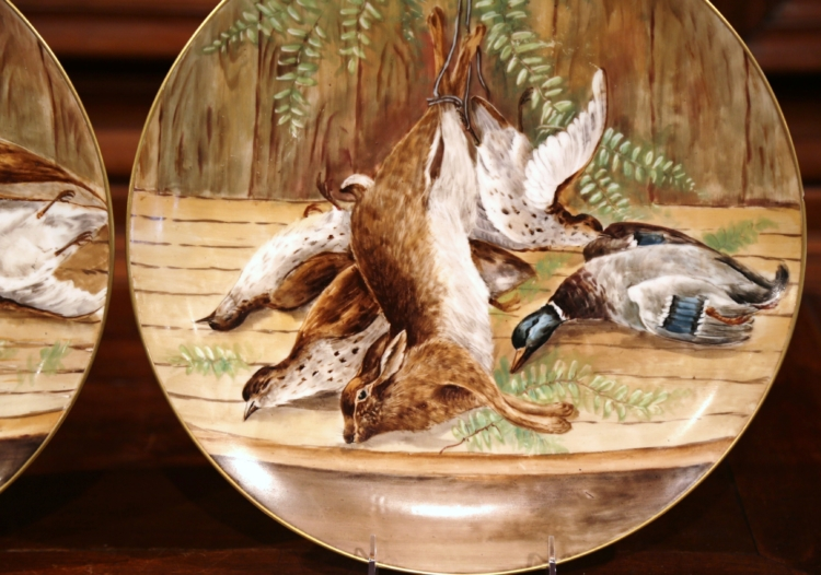 Pair of 19th Century French Hand-Painted Porcelain Hunting Scenes Wall Platters