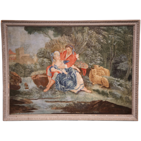 18th Century French Louis XVI Romantic Painting on Canvas with Grey Frame
