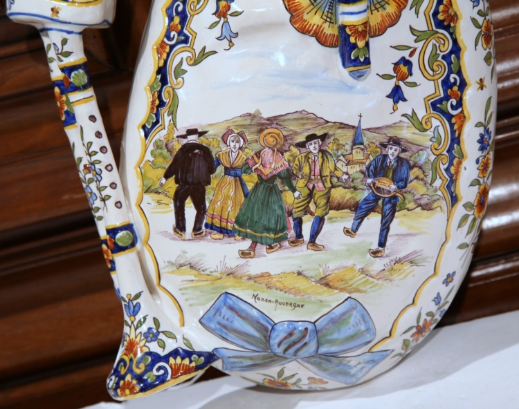 Large 19th Century French Hand-Painted Faience Wall Bagpipe from Auvergne