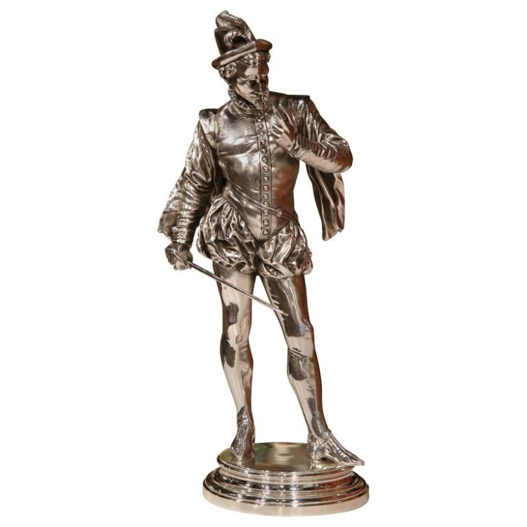 """19th Century French Silvered Bronze Sculpture """"Le Duel"""" Signed P.L. Detrier"""