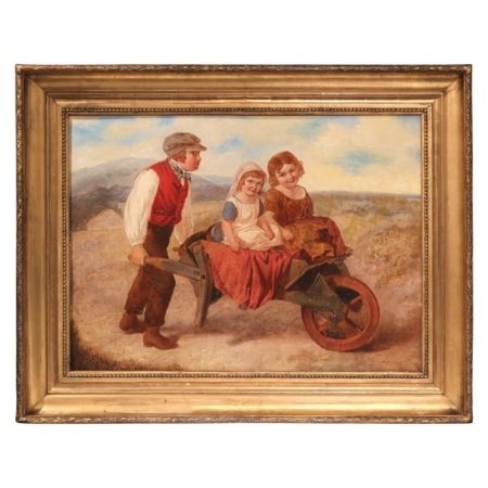 19th Century English Oil on Canvas Painting in Gold Leaf Frame Signed A. Green