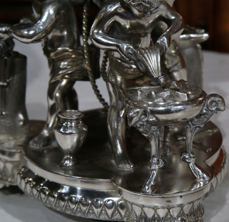 19th Century French Silver Plated Crystal Bowl Centerpiece with Cherub Figures